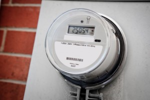 Smart electricity meter installed on building.