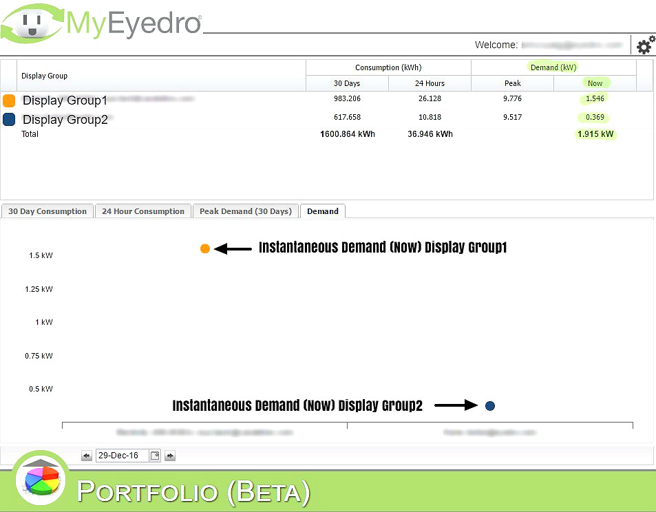 MyEyedro Electricity Usage Metering Instantaneous Peak Demand Data
