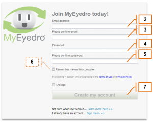 Screenshot of MyEyedro Client - Account Access