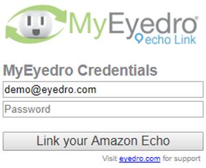 Screenshot of MyEyedro Client - Amazon Echo Sign In