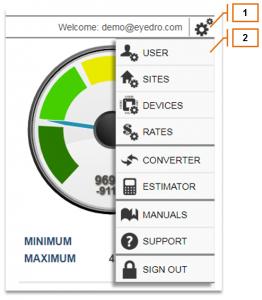 Screenshot of MyEyedro Client - User Settings