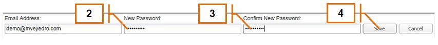 Screenshot of MyEyedro Client - Changing Password