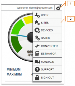 Screenshot of MyEyedro Client - Opening Site Settings
