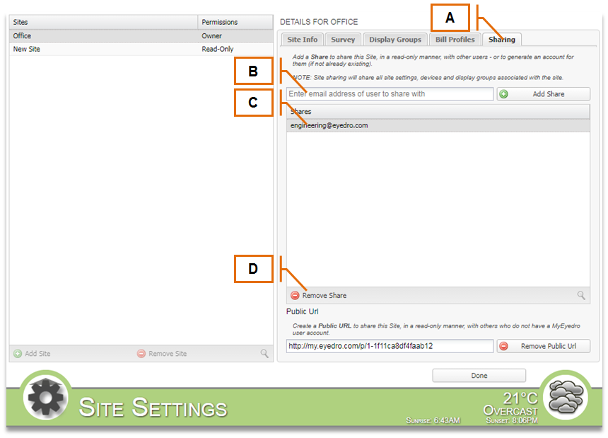 Screenshot for MyEyedro Client - Sharing Tab
