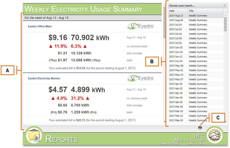 Screenshot of MyEyedro Client - Reports