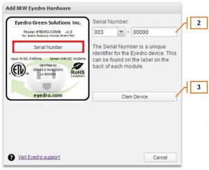 Screenshot of MyEyedro Client - Adding an Eyedro Electricity Monitor