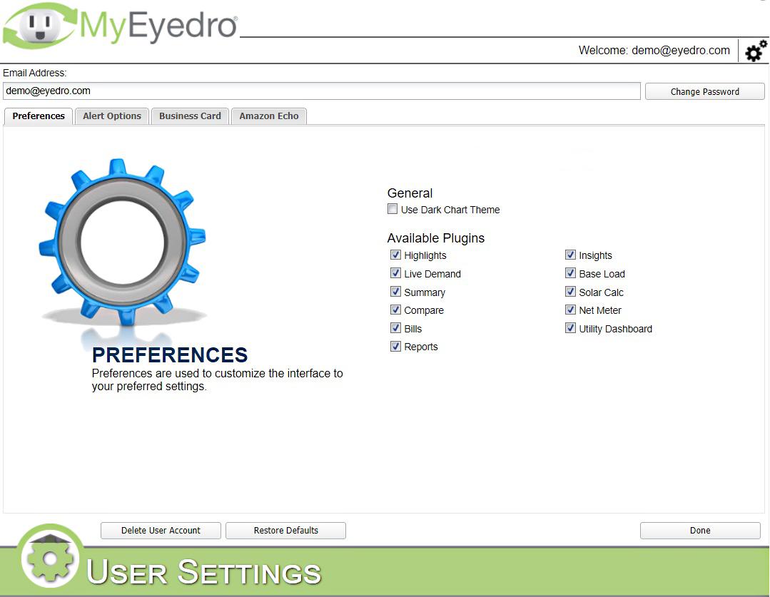 MyEyedro User Settings
