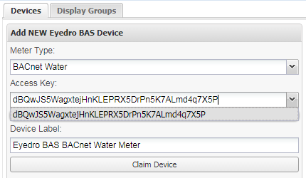Screenshot of Eyedro BAS Device Access Key