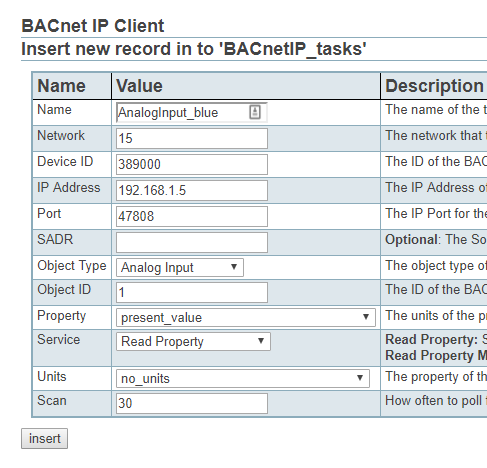 Screenshot of Adding BACnet IP tasks